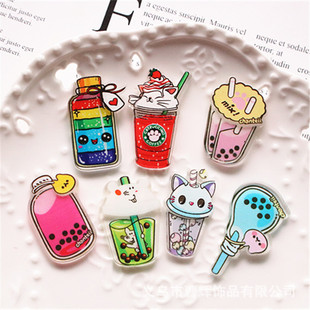 Ins wind diy jewelry patch simulation milk tea cup drink bottle wishing bottle epoxy mobile phone case acrylic accessories