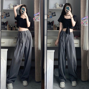 KANUO~Korean style retro square collar front and back two bow short tops + high waist lazy old daddy casual pants