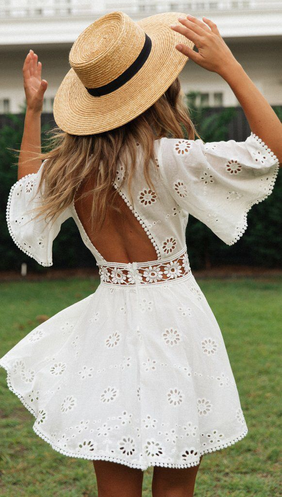 cotton lace stitching sexy hollow short-sleeved dress NSYD4145