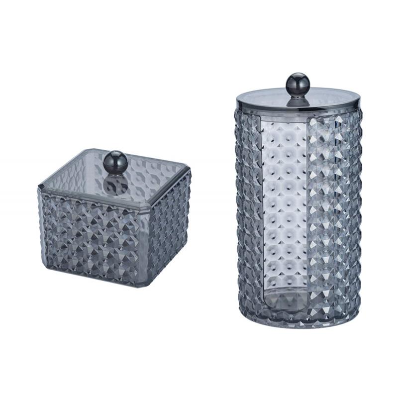 化妆棉收纳盒透明黑色亚克力钻石纹卸妆棉整理盒子带盖棉签盒桌面