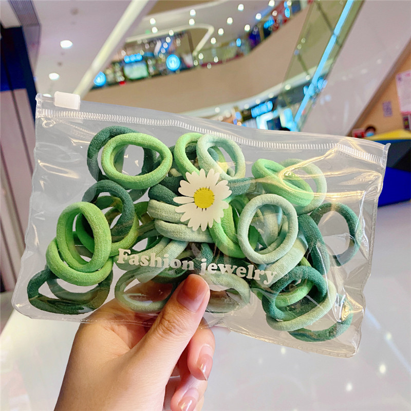 Fashion Color Mixing 55 Small Daisy Wrapped Nylon Towel Loop Hair Rope