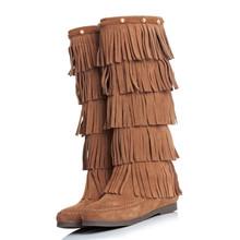 2020秋冬季真皮多层流苏靴韩版平底侧拉链牛翻皮高筒靴牛皮女靴子