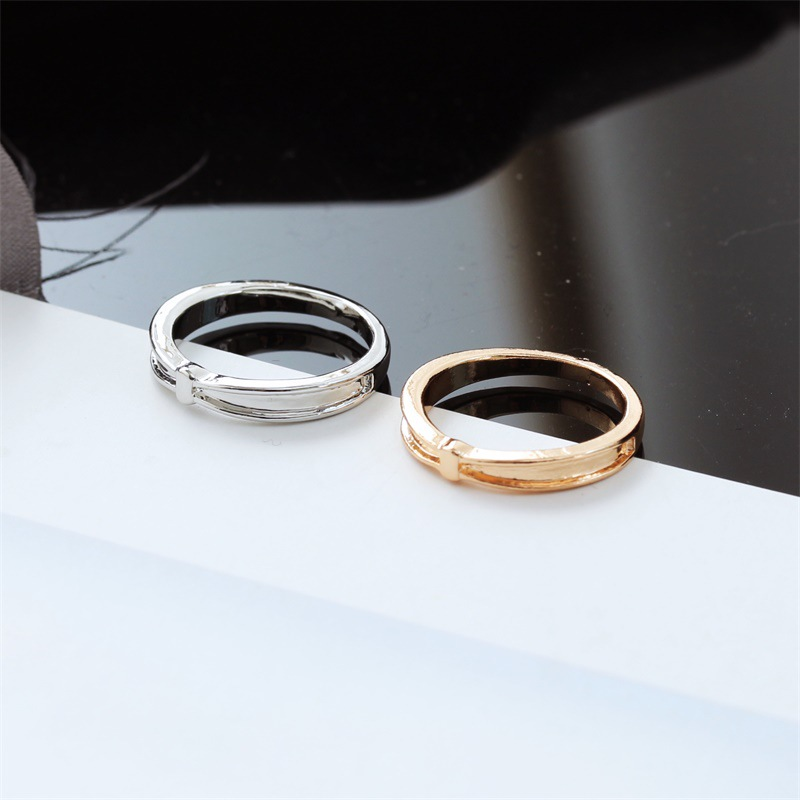 Korean simple plated thick silver ring for women wholesale simple bow ring suppliers china NHDP202833