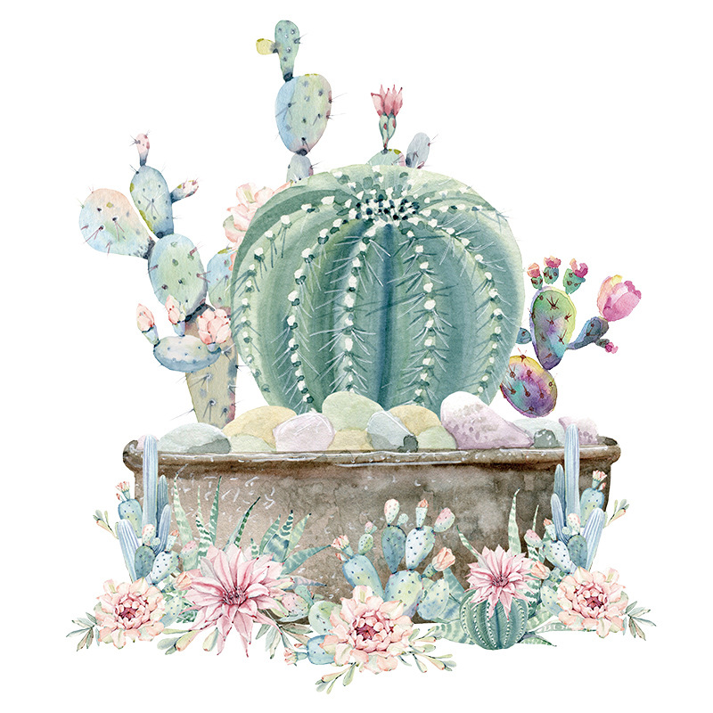 hand painted watercolor potted cactus children's room wall stickers background layout removable  NHAF256684