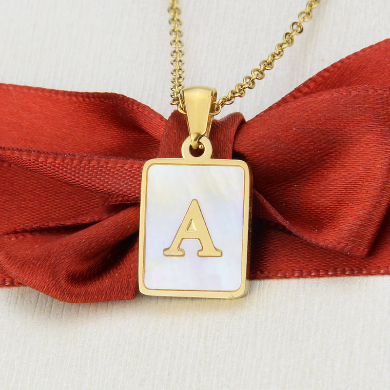 Hot selling fashion stainless steel square shell 26 letter necklace   NHBP260783