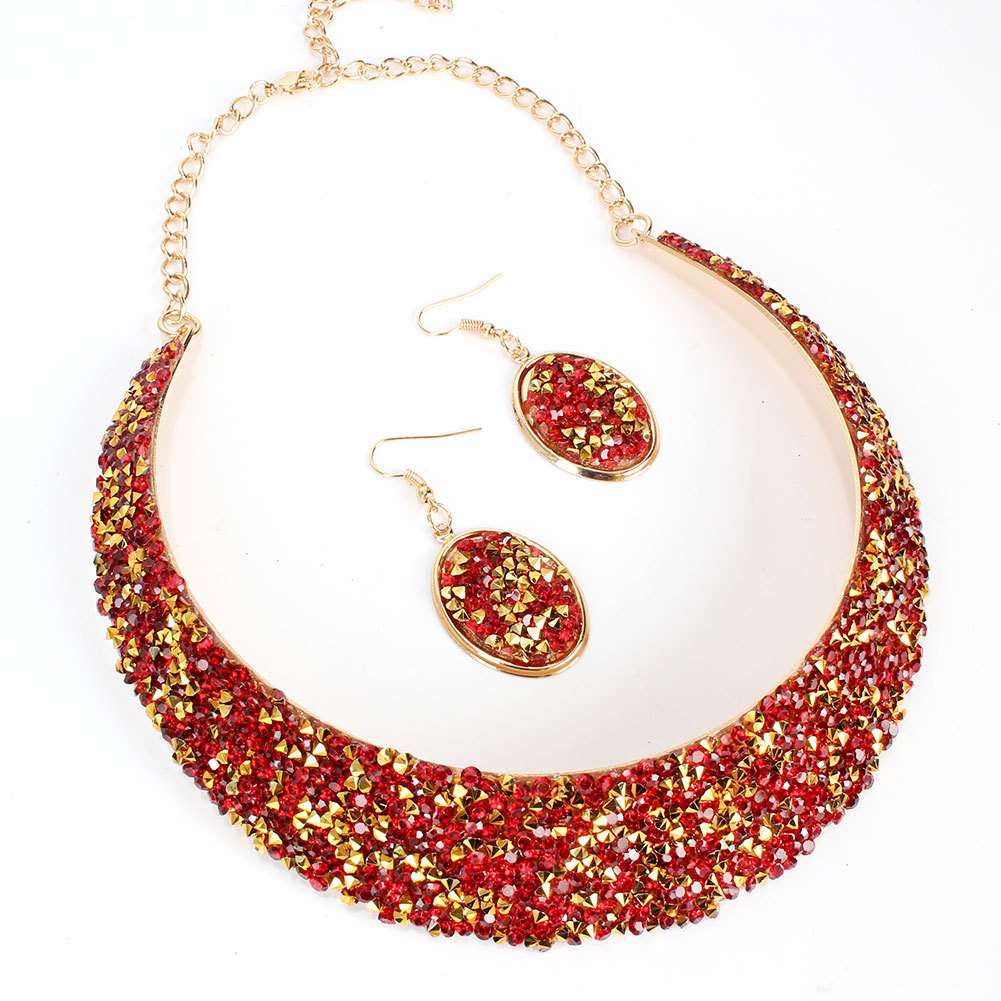 Collar Fashion Exaggerated Metal Fake Collar Necklace Earring Set wholesales yiwu suppliers china NHCT202809