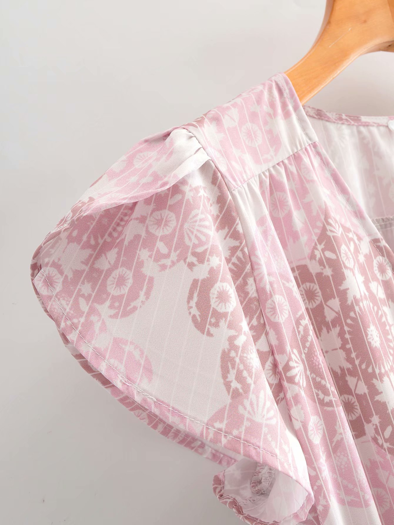 Spring new V-neck print lace up short sleeve long dress wholesale NHAM212911