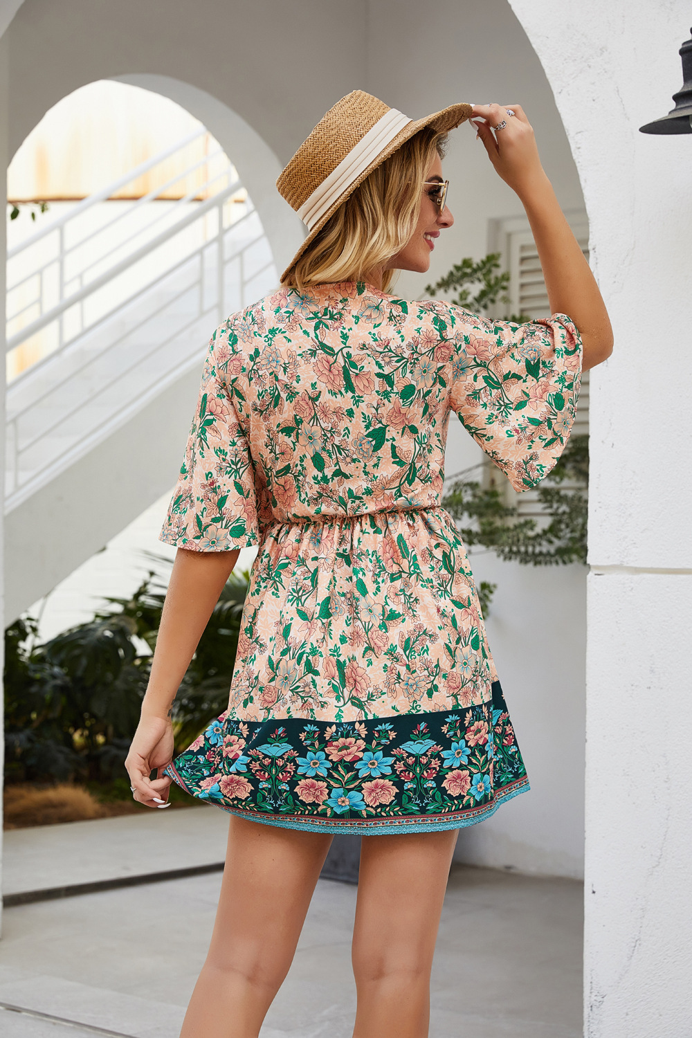 New Bohemian Vacation Print Lace Up Vneck Cropped Short Dress NHDF197590