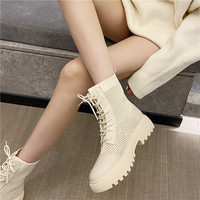 809-2 thick bottom Martin boots female 2020 new books with breathable temperament female web celebrity joker hollow out short boots boots