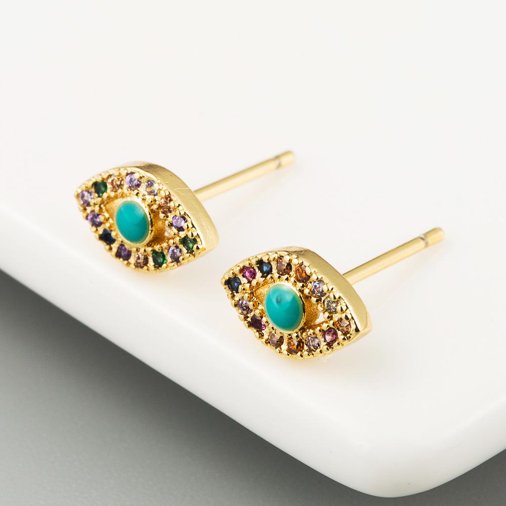 Simple temperament earrings brass plated 18K gold plated color zircon devils eye earrings NHLN191693