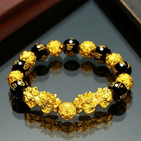 2pcs Feng Shui Obsidian Stone Beads good wealth  Bracelets Men and Women Unisex Wristband Gold Black Pixiu Wealth Good Luck Women Bracelet
