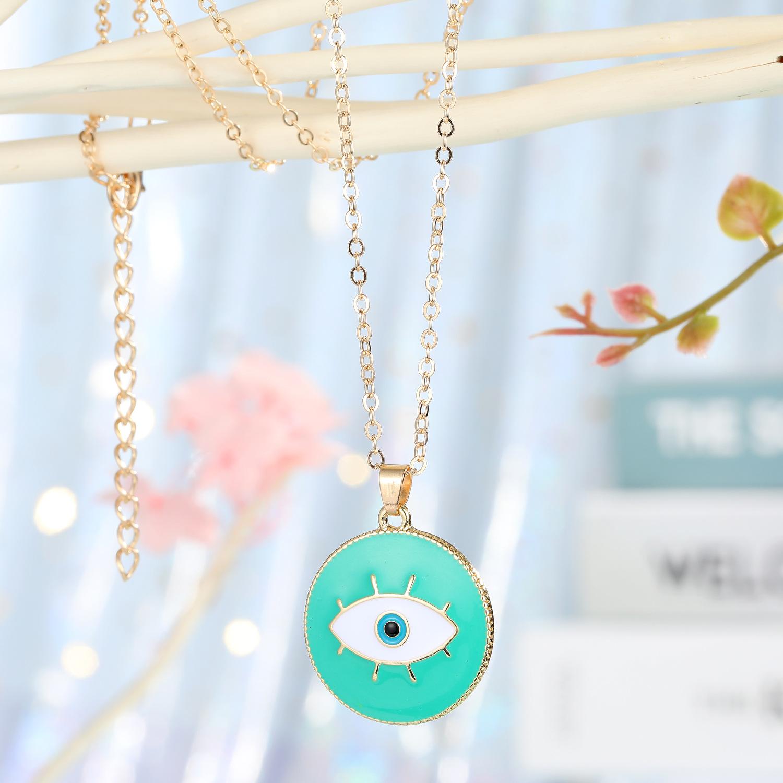 Joyería de moda turca ojos azules collar colgante personalidad gota aceite ojos collar damas accesorios venta al por mayor nihaojewelry NHGO223348