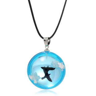 New blue sky and white clouds bird eagle luminous resin ball pendant etsy hot selling handmade necklace amazon cross-border