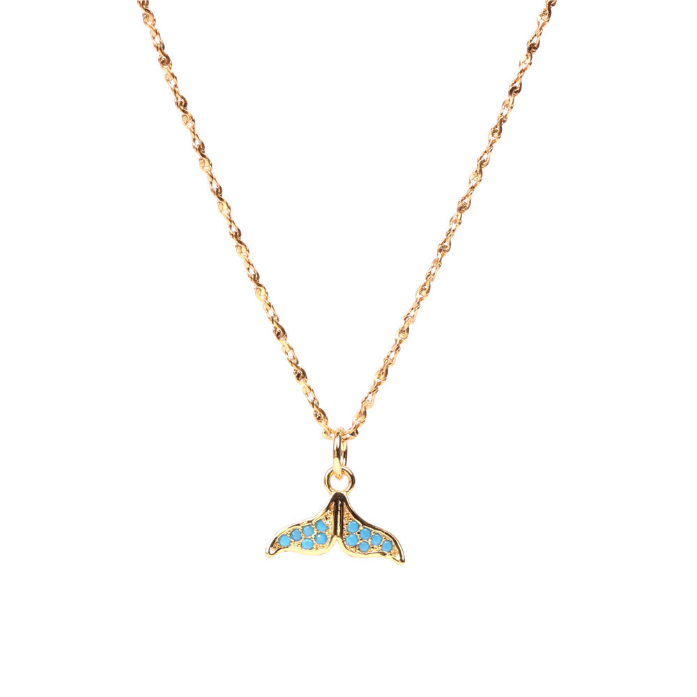 Fashion Fishtail Dolphin Necklace Simple Micro Inlaid Zircon Pendant Clavicle Chain Item NHPY199737