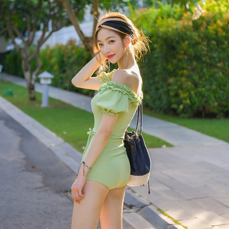 fashion short-sleeved one-piece neck pure and sexy one-piece swimsuit  NSHL3970