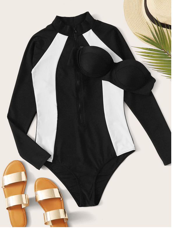 new black and white sports long sleeve swimsuit wholesale nihaojewelry NHHL230526