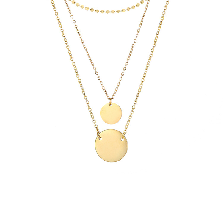 Multi-layered Wearing Round Pendant 316L Stainless Steel 14K Gold Plated Necklace NHTF242015
