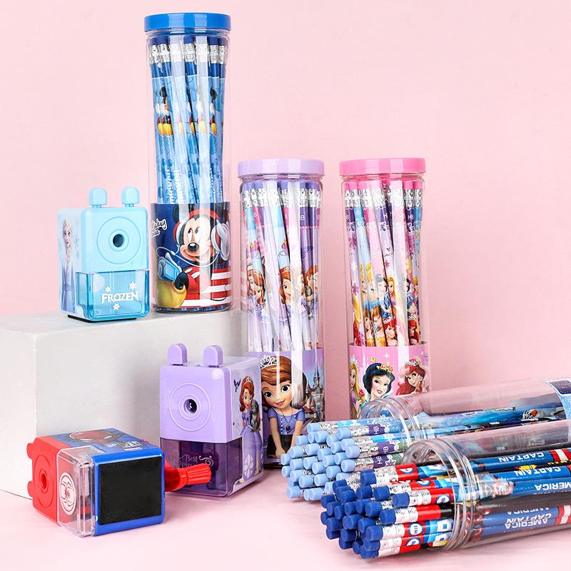 迪士尼儿童学习用品小学生文具桶装30支带橡皮头写字HB铅笔