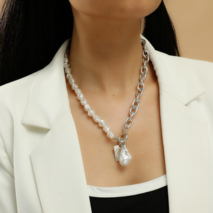 European and American cross-border jewelry temperament shaped pearl chain splicing necklace simple angel tag single-layer necklace female