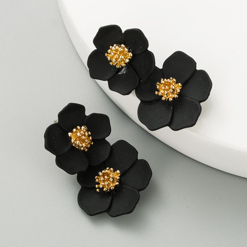 fashion multi-layer flower alloy silver needle earrings NHLN284955
