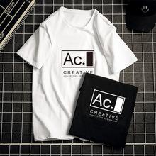团购2020新款短袖t恤男士潮牌宽松大码夏季透气纯棉字母印花体恤