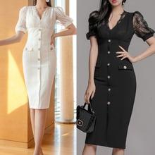 跨境2021冬季新款韓版OL氣質V領修身拼接蕾絲打底包臀職業連衣裙