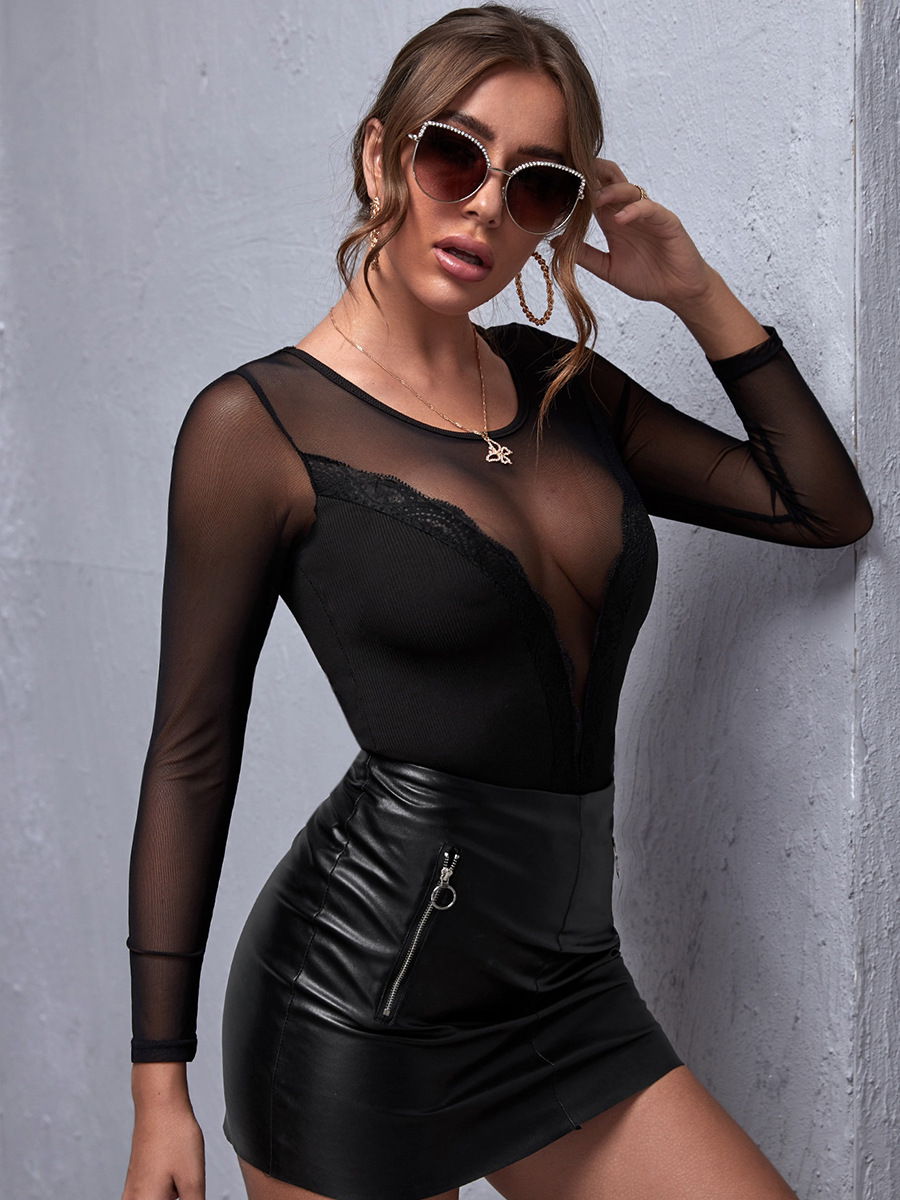autumn women's hot-selling sexy lace stitching slim long-sleeved top NSAL1933