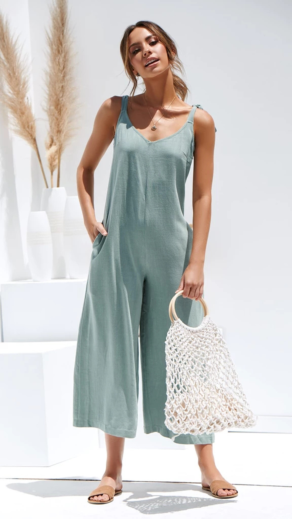Spring/Summer New Fashion Women's Workwear Sling Jumpsuit NSDF1481