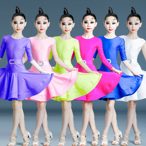 Children candy colored latin dance dresses grade examination competition girls Latin dance skirt competition clothing for kids