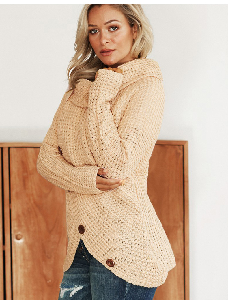 long-sleeved hem asymmetric button-type pullover sweater NSSI2541