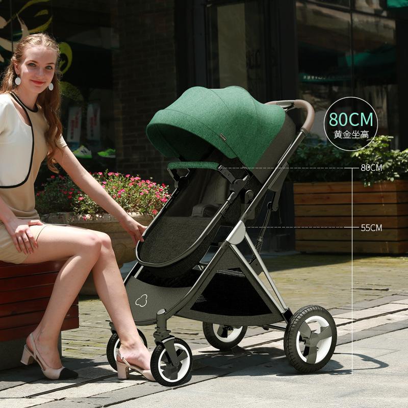 يمكن لعربة الأطفال الجلوس مستلقًا خفيفًا قابل للطي في اتجاهين مرتفع عربة أطفال حديثي الولادة