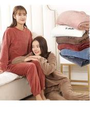 仙女暖暖套装女秋冬加绒加厚珊瑚绒睡衣懒人大码家居服两件套批发