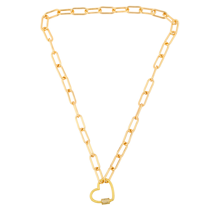 Fashion stainless steel  hiphop style peach heart copper short necklace pendant sweater chain NHAS245625