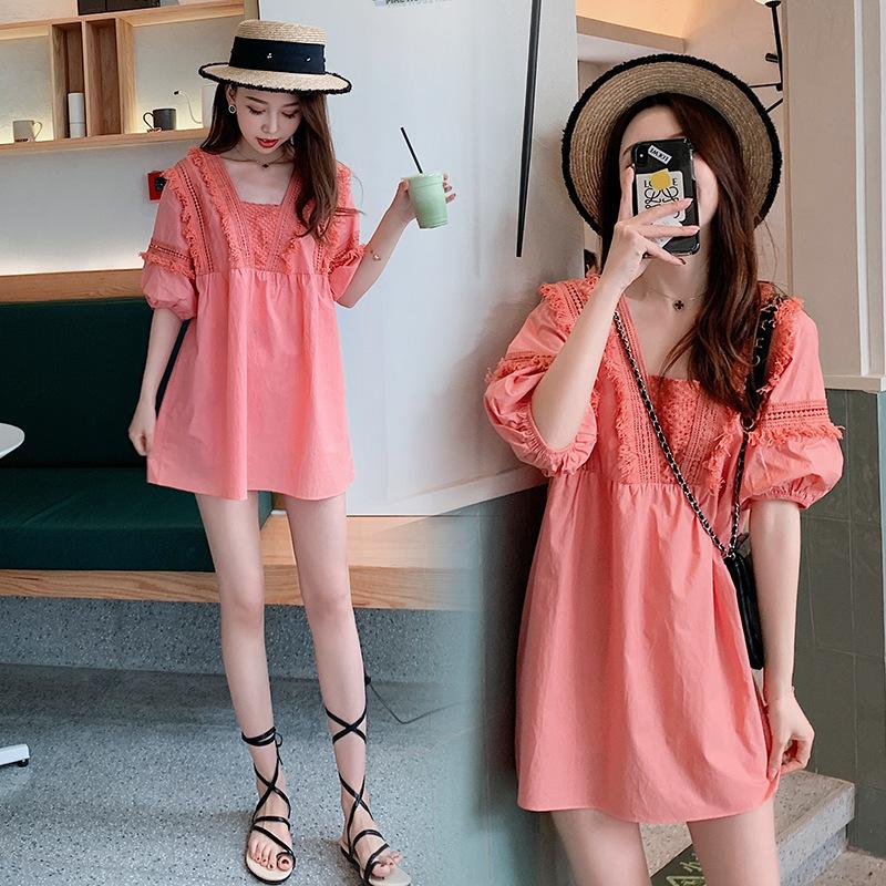 2020现货流行裙子夏连衣裙孕妇时尚仙女裙超仙粉红色连衣裙