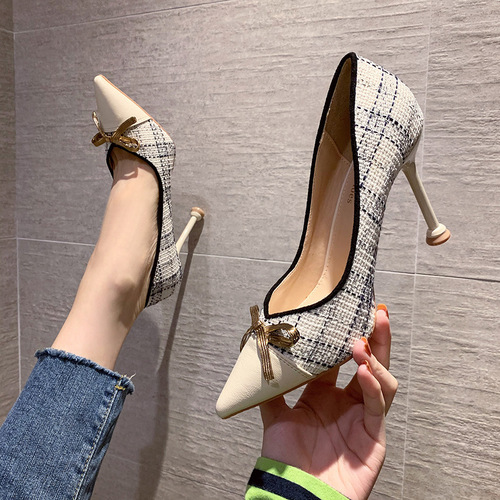 9888-25 han edition fashion pointed shallow mouth show thin and sexy high-heeled shoes bowknot single shoe heel web celebrity for women's shoes
