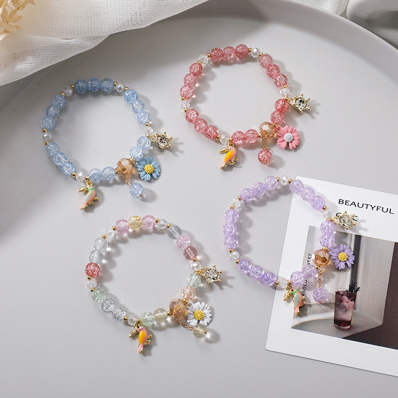 Summer sweet Mori style daisy flowers birds popcorn crystal bracelet ladies girls gift single circle bracelet jewelry NHMS218301