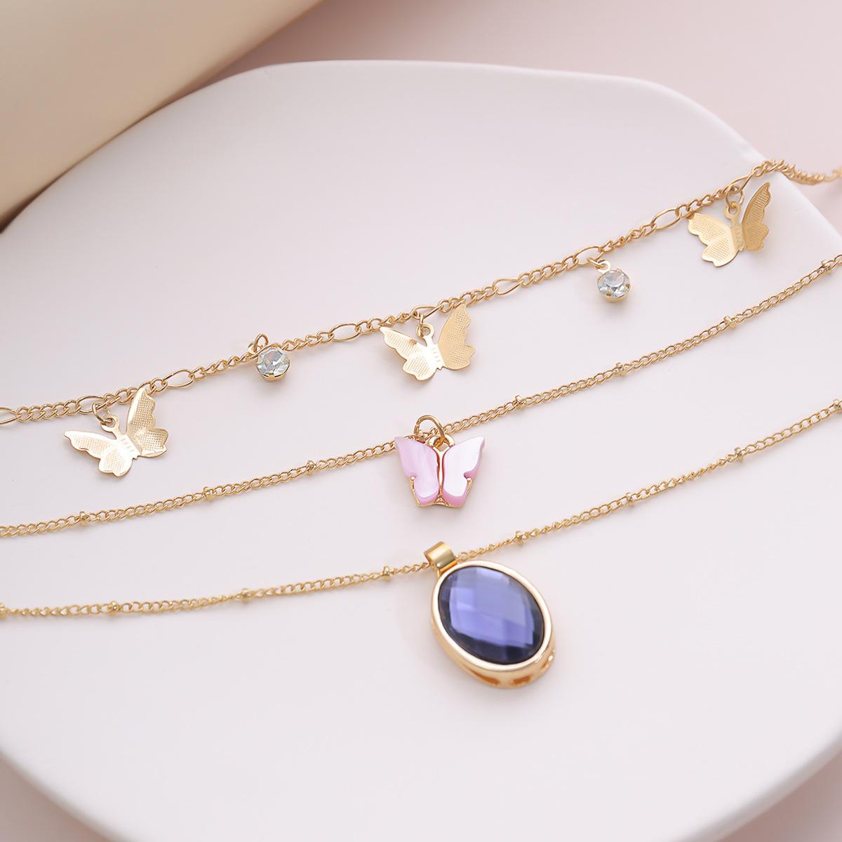 fashion jewelry style oval gemstone jewelry fashion temperament pink small butterfly micro-set necklace wholesale nihaojewelry NHXR225461