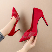 6606-3 in Europe and the sexy pointed web celebrity diamond stiletto heel nightclub show thin suede shoes women's shoes