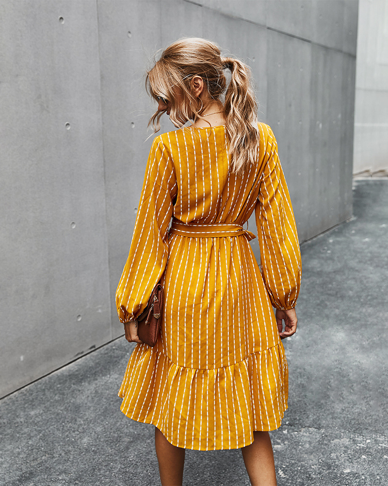 autumn 2020 simple striped dress for women NSKA215