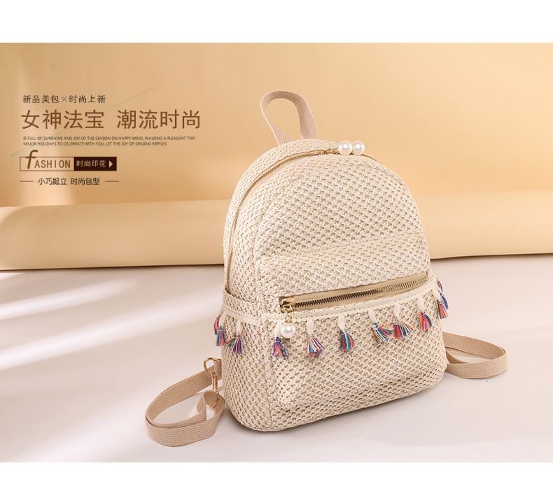 fringed straw woven backpack  NHTG297968