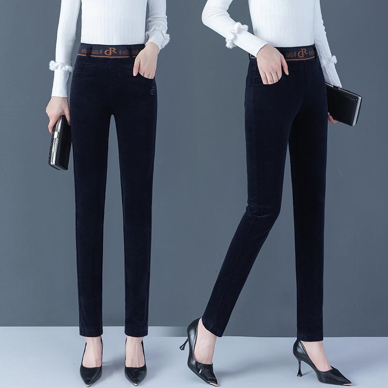 灯芯绒裤子女2020年春秋新款气质显瘦小脚哈伦裤紧身条绒小脚裤子