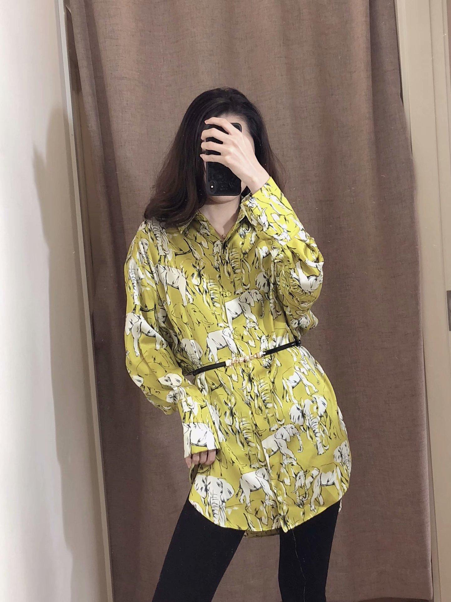 Fashion women's shirt wholesale loose elephant print shirt NHAM200131