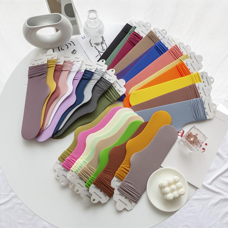 夏季新款冰冰袜薄款女袜日系糖果色天鹅绒堆堆袜韩国透气中筒袜子