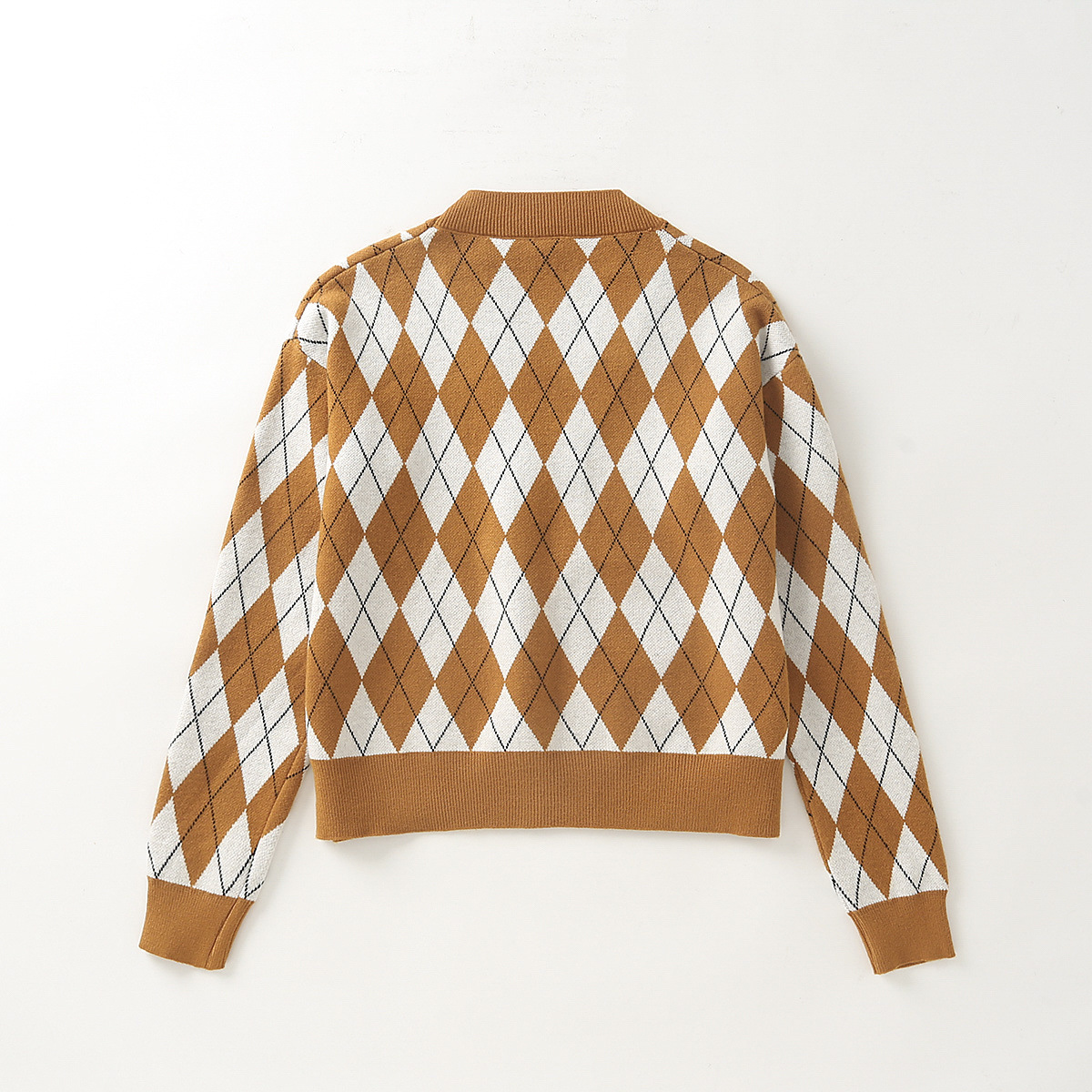 women's new college style diamond check knitted cardigan  NSAM2292