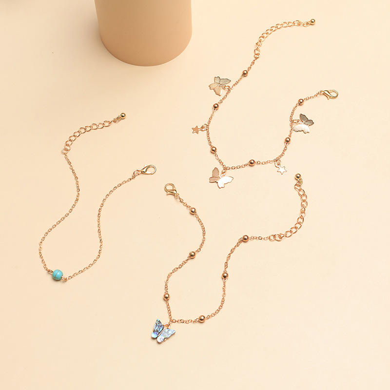 jewelry wholesale temperament butterfly anklet natural abalone shell turquoise foot ornaments wholesale NHNZ217154