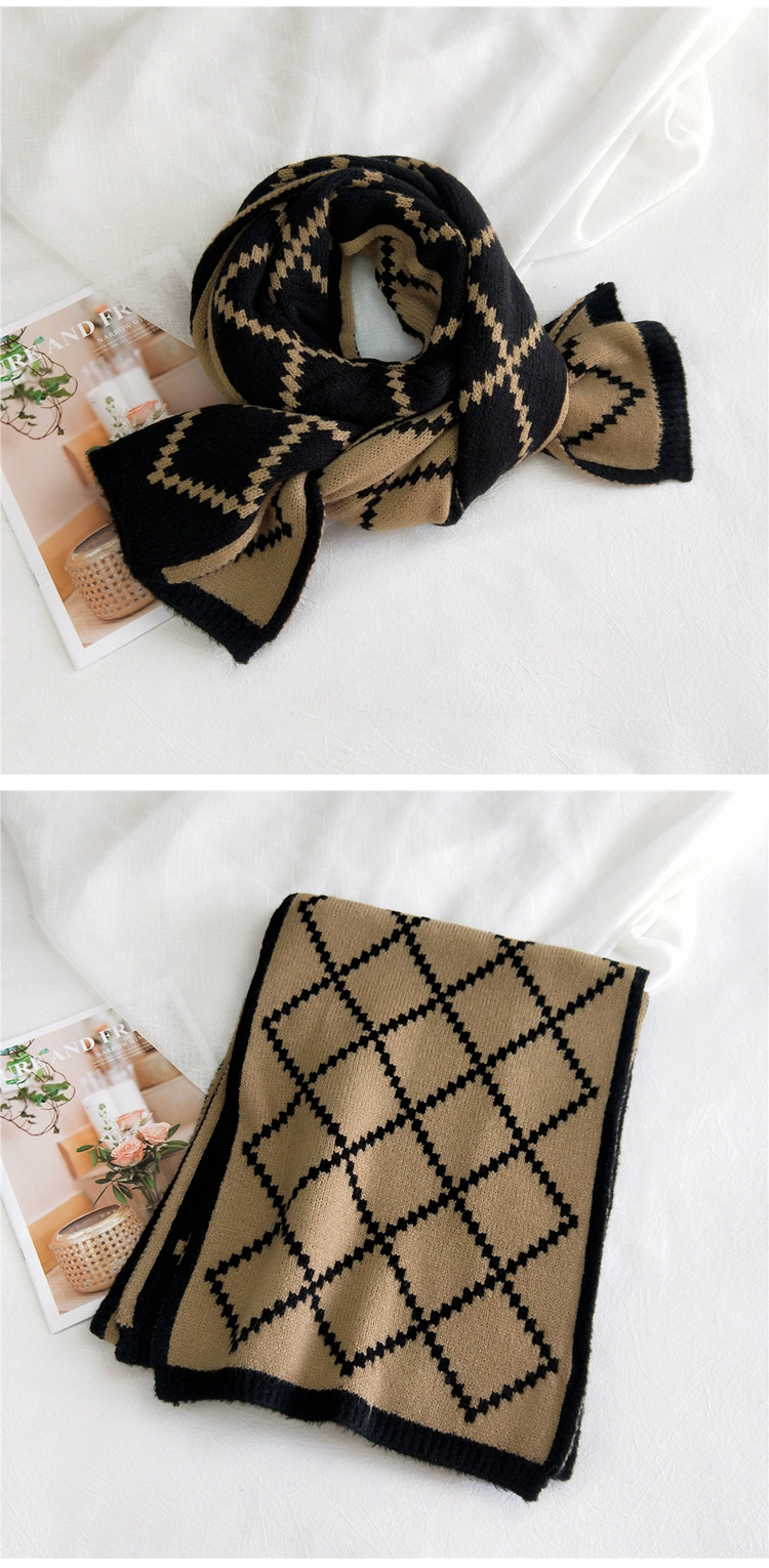 Doublesided mesh knitted wool scarf  NHMN275896