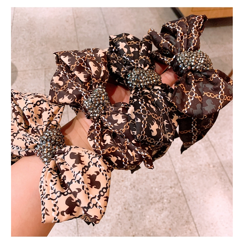 Korean retro silk printing wild bow full diamond widebrimmed hairpin wholesale nihaojewelry NHHD231078