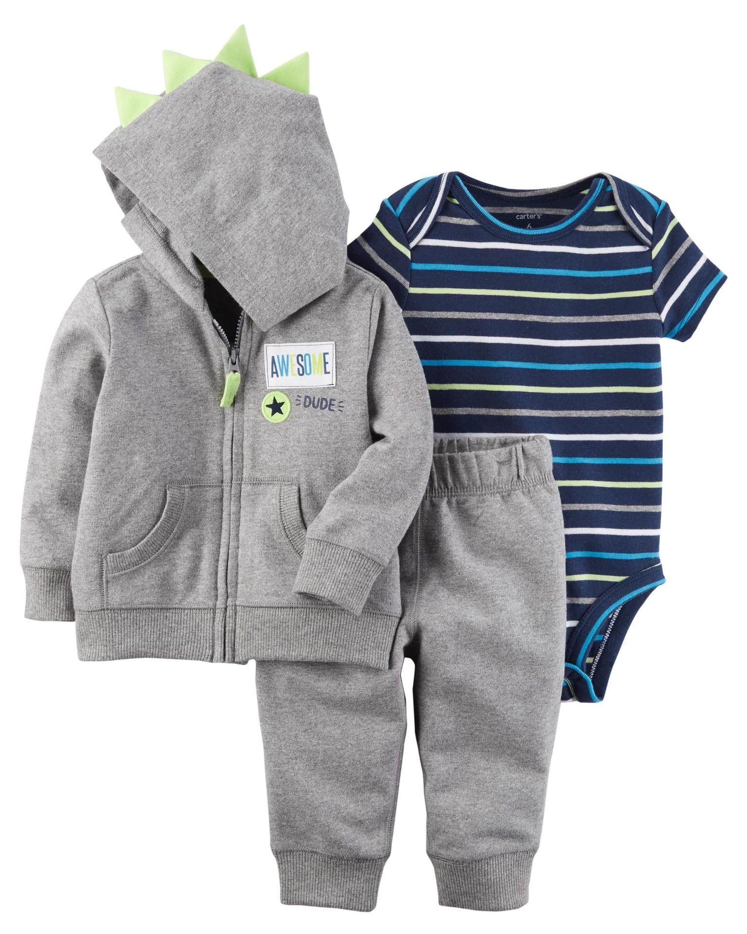 嬰兒連體衣三角哈衣男女寶寶休閑長袖純棉外套三件套春秋款套裝