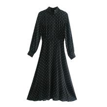 I0011韓版女裝批發2020秋冬季新款五角星印花長袖長款收身連衣裙