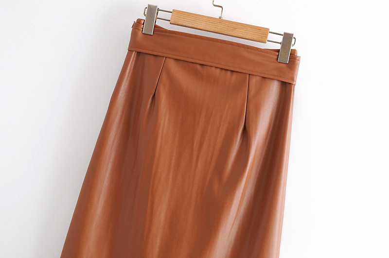 leather skirt bag hip is thin A-line skirt  NSAM3247